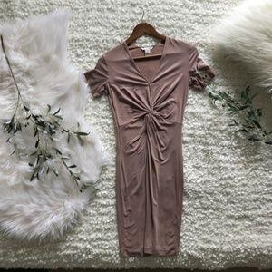H&M Blush Pink/Nude Bodycon Short Sleeve Dress